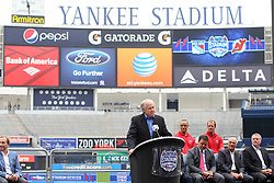 Aug 8, 2013; New York, NY, USA; NHLPA Executive Director Donald Fehr speaks at a press conference at Yankee Stadium. Two outdoor regular-season NHL games will be played at Yankee Stadium during the 2013-14 season as part of the 2014 Stadium Series.
