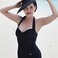 American actress and model Dita Von Teese at the Kanuhura resort in the Maldives. Von Teese wears her own selection of 1940s and 50s clothing. ..Photo: Tom Pietrasik.Kanuhura, Madives..August 18th 2009
