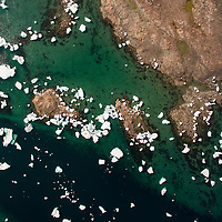Canada, Nunavut Territory, Repulse Bay, Aerial view of icebergs in Harbour Islands in Hudson Bay just south of arctic circle