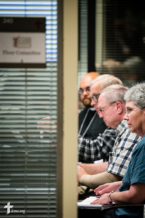 Floor-committee members discuss resolutions during floor-committee weekend at the International Center of The Lutheran Church–Missouri Synod on Friday, May 27, 2016, in Kirkwood, Mo. LCMS Communications/Erik M. Lunsford
