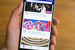 Stubhub online ticket selling website on smart phone screen.