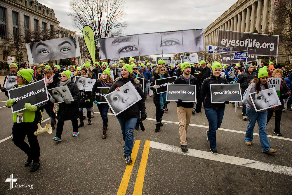 Lutherans participate in the March for Life 2017 on Friday, Jan. 27, 2017, in Washington, D.C. LCMS Communications/Erik M. Lunsford