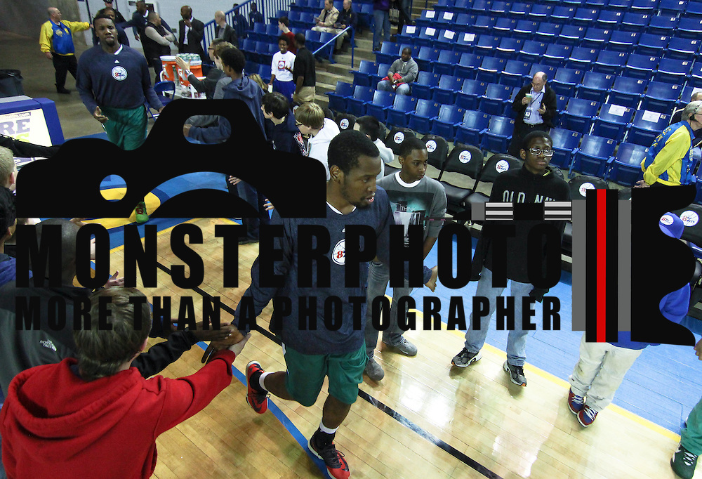 Delaware 87ers Forward Damian Saunders (18) enters the court prior a NBA D-league regular season basketball game between the Delaware 87ers (76ers) and Springfield Armor (Brooklyn Nets) Friday, Apr. 04, 2014 at The Bob Carpenter Sports Convocation Center, Newark, DEL.