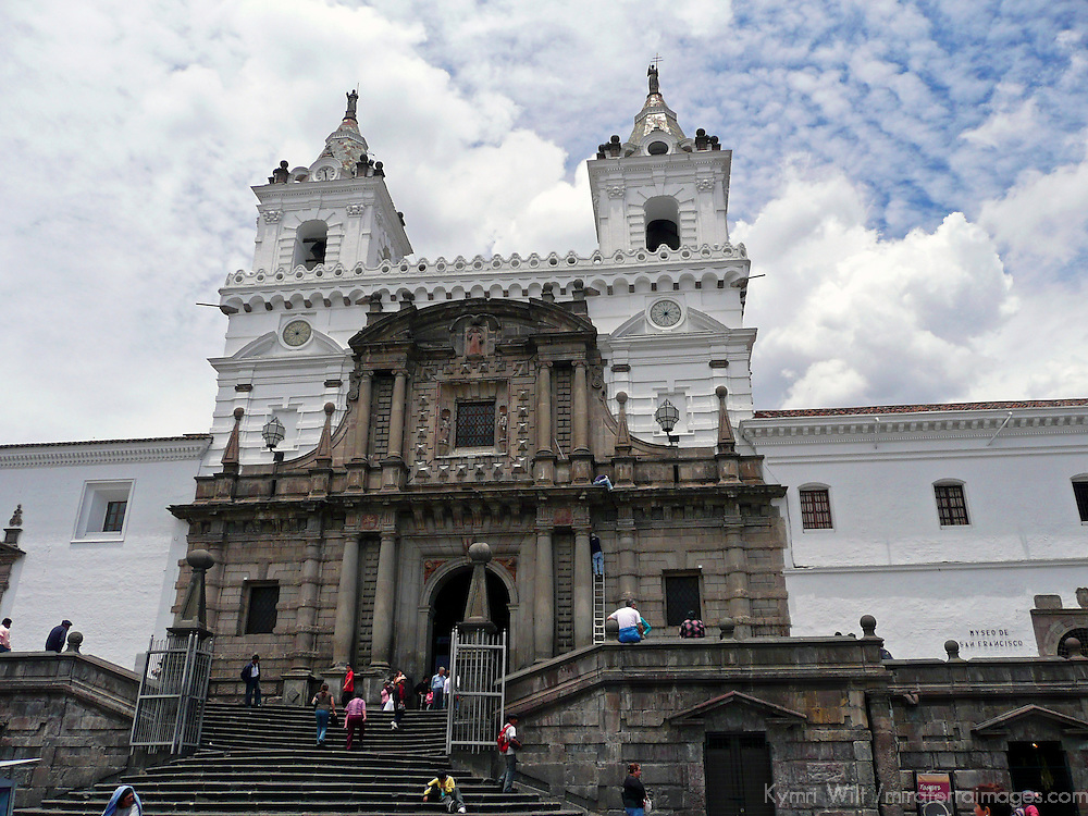 Americas, South America, Ecuador, Quito. The impressive San Francisco Church in Quito's historical center, a UNESCO World Heritage site.