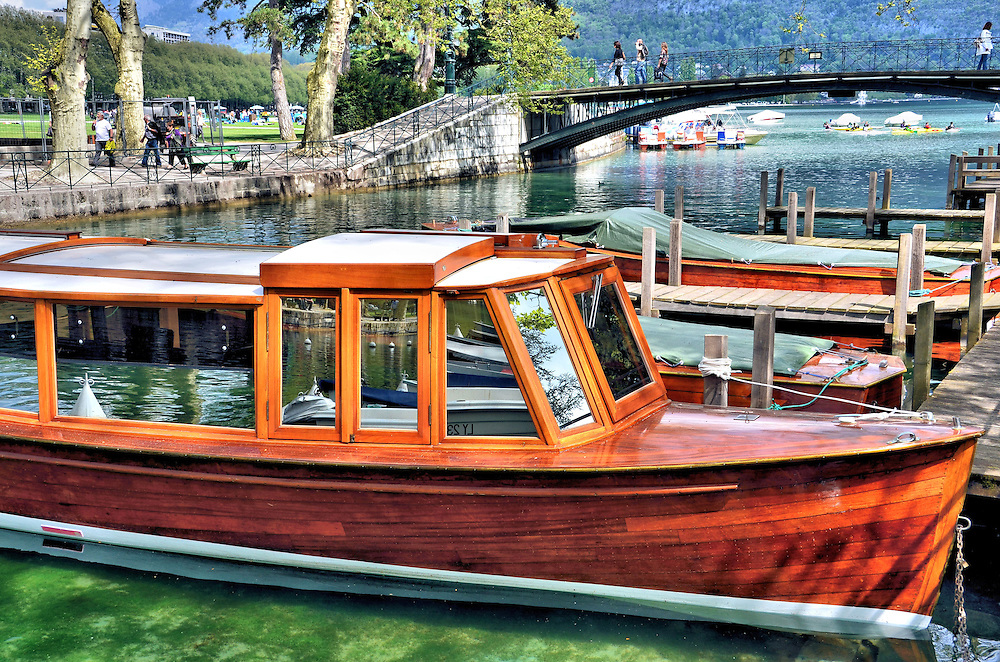 Moored Wooden Boats on Vass&eacute; Canal in Annecy, France<br />