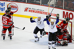 Nov 5, 2008; Newark, NJ, USA; Tampa Bay Lightning center Steven Stamkos (91) and Tampa Bay Lightning center Vincent Lecavalier (4) celebrate St. Louis' goal during the third period at the Prudential Center.