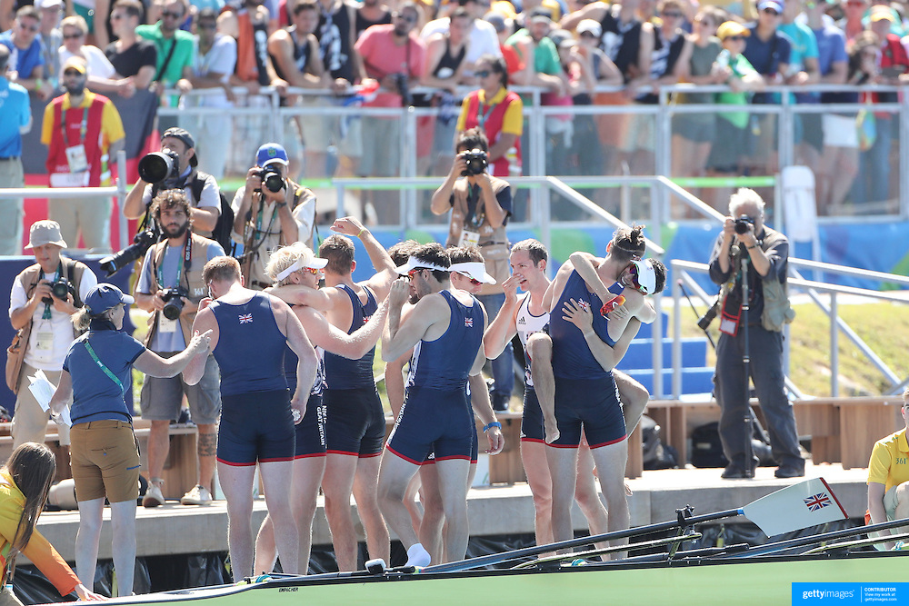 Rowing - Olympics: Day 8  The Great Britain team of Scott Durant, Tom Ransley, Andrew T Hodge, Matt Gotrel, Pete Reed, Paul Bennett, Matt Langridge, William Satch and Whelan Hill after winning the gold medal during the Men's Eight Final at Lagoa Stadium August 13, 2016 in Rio de Janeiro, Brazil. (Photo by Tim Clayton/Corbis via Getty Images)