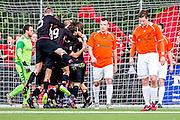 DEN HAAG - HBS - MSC , Sportpark Craeyenhout , Voetbal , Promotie/degradatie topklasse , seizoen 2014/2105 , 28-05-2015 , HBS viert doelpunt terwijl de spelers van MSC balen