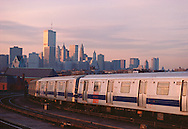 Subway in Brooklyn looking at Manhattan Skyline, Twin Towers,  New York City, New York, USA