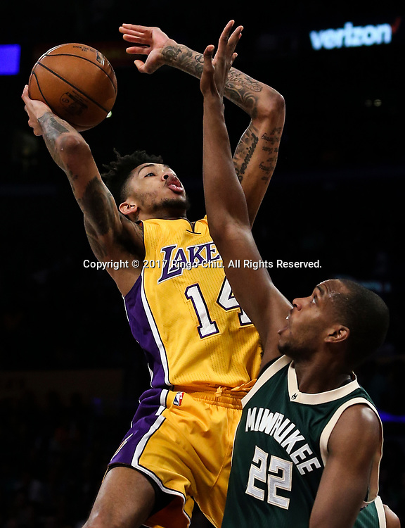 Los Angeles Lakers forward Brandon Ingram (#14) shoots against Milwaukee Bucks during an NBA basketball game, Friday, March 17, 2017.(Photo by Ringo Chiu/PHOTOFORMULA.com)<br /> <br /> Usage Notes: This content is intended for editorial use only. For other uses, additional clearances may be required.