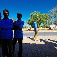 A bunch of Rajasthani schoolboys lurking around the nearby tea-shop, Jodhpur, Rajasthan.