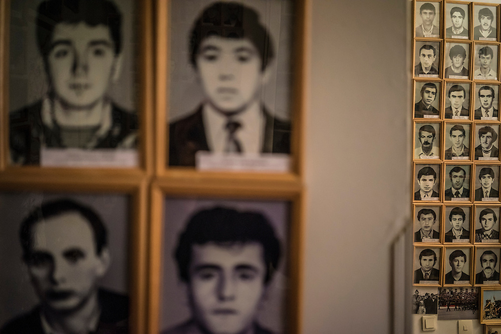 STEPANAKERT, NAGORNO-KARABAKH - APRIL 22: Photos of soldiers killed in fighting are displayed at the Nagorno-Karabakh Republic Memorial Museum of the Perished Soldiers, which is dedicated to fighters killed in the war with Azerbaijan, on April 22, 2015 in Stepanakert, Nagorno-Karabakh. Since signing a ceasefire in a war with Azerbaijan in 1994, Nagorno-Karabakh, officially part of Azerbaijan, has functioned as a self-declared independent republic and de facto part of Armenia, with hostilities along the line of contact between Nagorno-Karabakh and Azerbaijan occasionally flaring up and causing casualties. (Photo by Brendan Hoffman/Getty Images) *** Local Caption ***