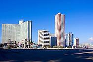 Buildings on the Havana Malecon, Cuba.