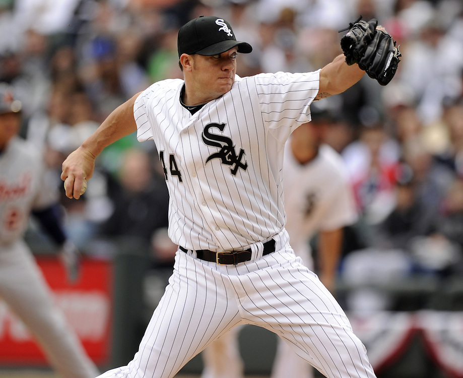 CHICAGO - APRIL 13:  Jake Peavy #44 of the Chicago White Sox pitches against the Detroit Tigers on Opening Day, April 13, 2011 at U.S. Cellular Field in Chicago, Illinois.  The White Sox defeated the Tigers 5-2.  (Photo by Ron Vesely/Chicago White Sox)  Subject:  Jake Peavy