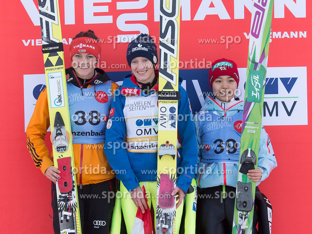 31.01.2015, Energie AG Skisprung Arena, Hinzenbach, AUT, FIS Ski Sprung, FIS Ski Jumping World Cup Ladies, Hinzenbach, Wettkampf im Bild das Siegerpodest v.l. Carina Vogt (GER), Daniela Iraschko-Stolz (AUT), Sara Takanashi (JPN) // during FIS Ski Jumping World Cup Ladies at the Energie AG Skisprung Arena, Hinzenbach, Austria on 2015/01/31. EXPA Pictures © 2015, PhotoCredit: EXPA/ Reinhard Eisenbauer