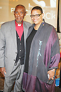 l to r: Rev. Daughtery and Terrie Williams at The 84th Birthday Celebration for Malcolm X and the Memorializing and Marking, for the First Time, the Location in Audubon Ballroom Where He Was Martyred in 1965.