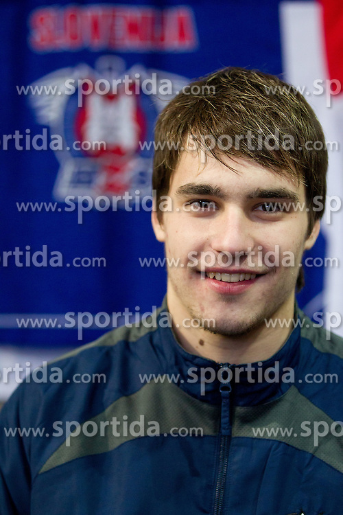 Gasper Cerkovnik during photo session of Slovenian U20 ice-hockey team, on December 08, 2011 in Ledena dvorana, Bled, Slovenia. (Photo By Vid Ponikvar / Sportida.com)