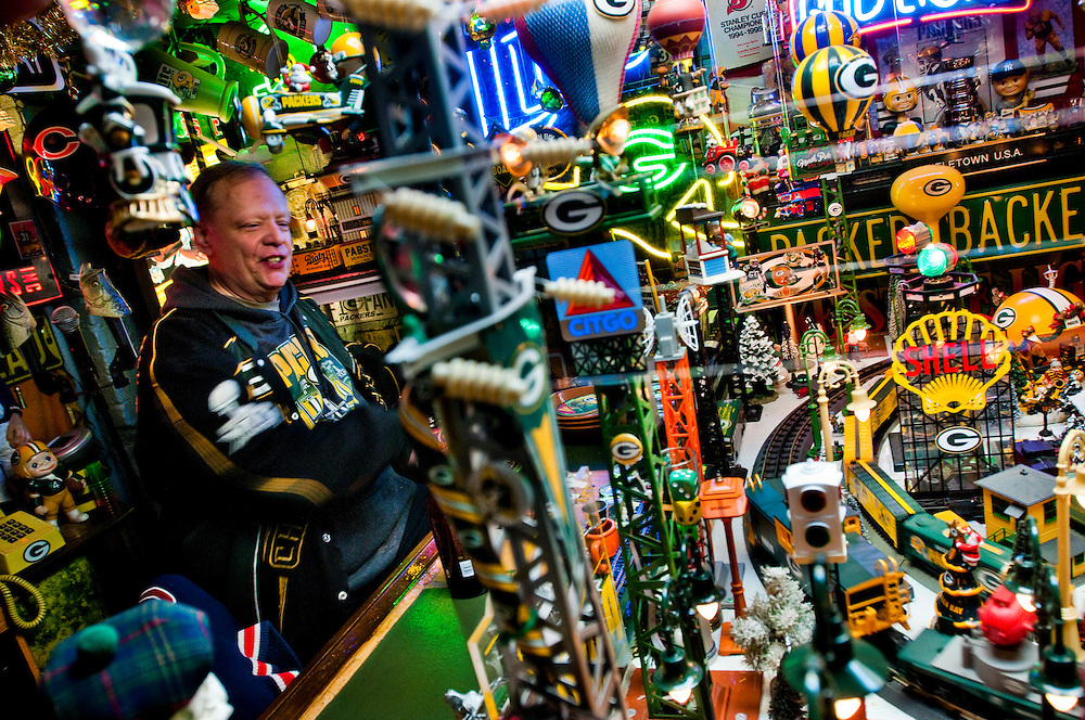 Greg Battleson has built a Green Bay Packers -themed man cave in a basement in Jersey City..Photographer: Chris Maluszynski /MOMENTGreg Battleson has built a Green Bay Packers -themed man cave in a basement in Jersey City..Photographer: Chris Maluszynski /MOMENT