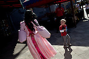"""Iesha Ortiz as """"Princess Lily"""" walks through the park meeting the children in Legoland in Whitehaven, Florida on February 11, 2012."""