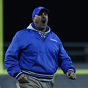 Middletown head coach Mark DelPercio seen on the sideline disputing a call made by the official's in the fourth quarter of the DIAA State Championship football game against Salesianum Saturday, Nov. 30 2013, at Delaware Stadium in Newark Delaware.
