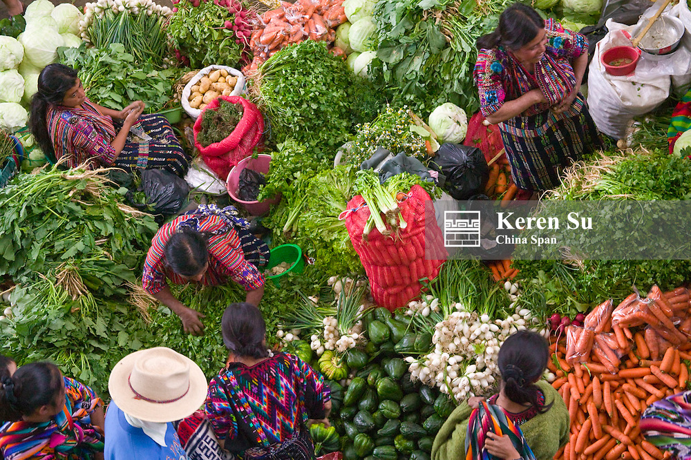 Colorful vegetable market in Chichicastenango, Guatemala