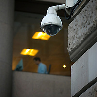 UK. London. Surveillance Society..In the UK the use of Closed Circuit Television (CCTV) for surveillance and crime control has grown to unprecedented levels making the UK the most ?watched? nation on earth, accounting for 20% of world CCTV sales. There is an estimated 4.2 million CCTV cameras in the UK. Between £150 and £300 million per year is spent on a surveillance industry covering private businesses, shopping areas, housing estates, car parks and public facilities, despite having a negligible effect on fighting crime. .Photo by Steve Forrest.