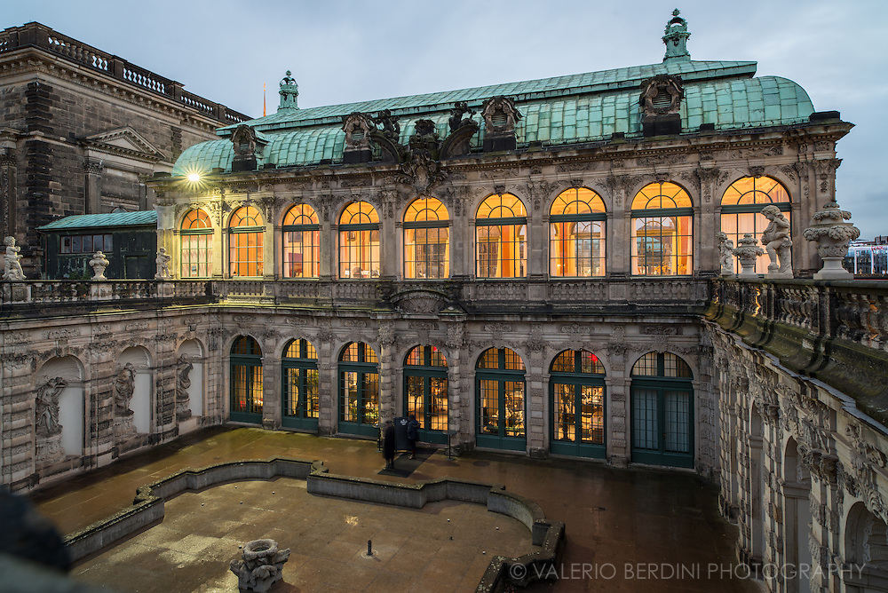 Baroque building with a garden, porcelain collection & exhibits on historic scientific instruments. Dresden, Germany