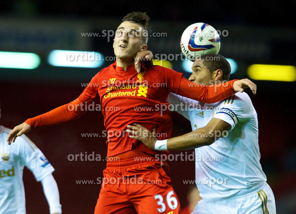 31.10.2012, Anfield, Liverpool, ENG, FA Cup, FC Liverpool vs Swansea City, 4. Runde, im Bild Liverpool's Samed Yesil and Swansea City's captain Ashley Williams // during English FA Cup 4th round match between Liverpool FC and Swansea City AFC at the STADION, STADT, Great Britain on 2012/10/31. EXPA Pictures © 2012, PhotoCredit: EXPA/ Propagandaphoto/ David Rawcliffe..***** ATTENTION - OUT OF ENG, GBR, UK *****