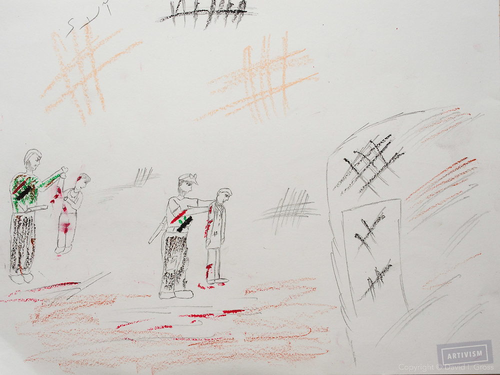 """Soldiers from Assad's army show how they kill people."" Drawing by Syrian girl, age 13. (Topic for this session: dealing with loss.)"