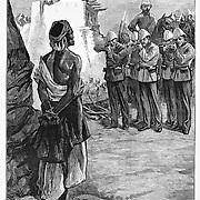 "British war in Afghanistan 1879.  Execution by firing squad of a ""Ghazi"" (Islamic extremist terrorist) Muslim prisoner. Harper's Weekly 1879."