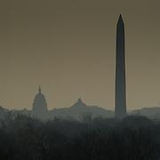 Capitol Building and Washington Monument on a foggy day, Washington, DC