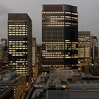 Marunouchi buildings at dusk, Tokyo, Japan.