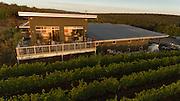 Aerial perspective over Raptor Ridge Winery & estate vineyard, Chehalem Mountains, Willamette Valley, Oregon