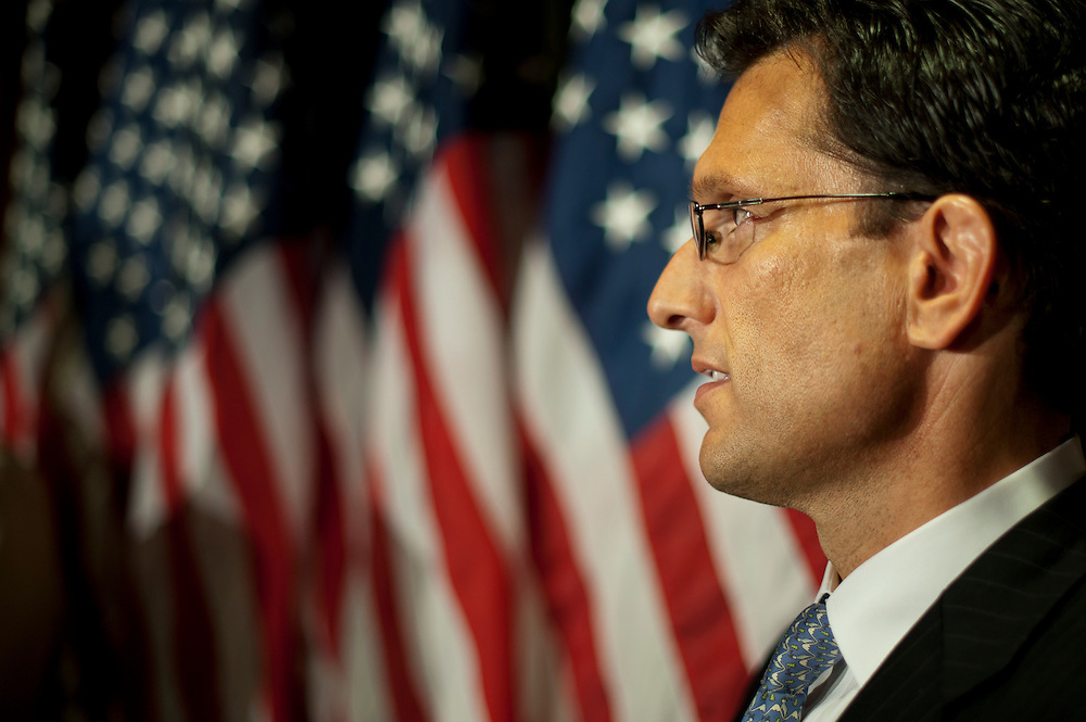 House Majority Leader ERIC CANTOR (R-VA), during a press conference at the Headquarters of the Republican National Committee on Capitol Hill on Tuesday. BOEHNER is advancing a plan that would start with an initial $1.2 trillion in savings over 10 years, but would only increase the debt limit for a few months.
