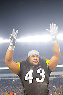PITTSBURGH, PA - JANUARY 23: Troy Polamalu #43 of the Pittsburgh Steelers gestures seven fingers o the crowd for the amount of championships the Steelers are going after defeating the against the New York Jets in the AFC Championship Playoff Game at Heinz Field on January 23, 2011 in Pittsburgh, Pennsylvania(Photo by: Rob Tringali) *** Local Caption *** Troy Polamalu