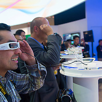 LAS VEGAS - JANUARY 10 : Sony unveiled its SmartEyeglass prototype at the CES in Las Vegas on January 10 2014 , CES is the world's leading consumer-electronics show and companies from all over the world come to show their latest technologies and products.