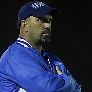 Middletown head coach Mark DelPercio watches the game for the sidelines in the second quarter Friday, Oct. 09, 2015 at Bernard Stadium in Wilmington, DE.