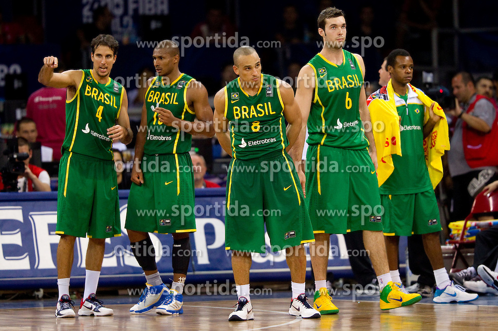 Marcelo Machado of Brasil, Leandro Barbosa of Brasil, Alex Garcia of Brasil, Murilo Becker of Brasil during the Preliminary Round - Group B basketball match between National teams of USA and Brasil at 2010 FIBA World Championships on August 30, 2010 at Abdi Ipekci Arena in Istanbul, Turkey. (Photo By Vid Ponikvar / Sportida.com)