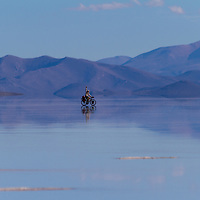 Biking Salar de Coipasa <br /> <br /> Lago Coipasa or Salar de Coipasa is a lake in Atahuallpa Province, Oruro Department, Bolivia. At an elevation of 3657 m, its surface area is 806 km&sup2;. It's on the western part of Altiplano, 20 km north of Salar de Uyuni and south of the main road linking Oruro and Huara (Chile).<br /> <br /> Coipasa Lake is a tectonic saline lake with a depth of 3.5 metres that is surrounded by the Coipasa salt flats (Salar de Coipasa)