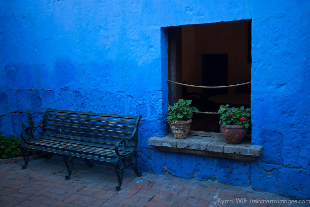 South America, Peru, Arequipa. Bench at Monasterio de Santa Catalina.
