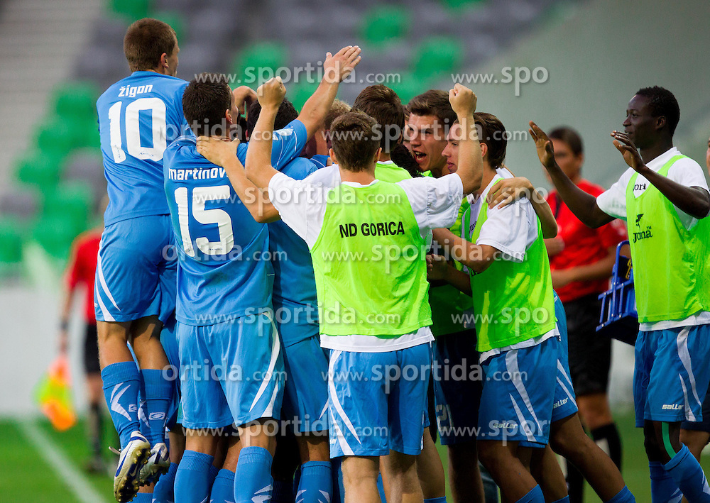 Players of Gorica celebrate during football match between NK Olimpija Ljubljana and NK Gorica in 3rd Round of Prva liga NZS 2012/13, on July 29, 2012 in SRC Stozice, Ljubljana, Slovenia. (Photo by Vid Ponikvar / Sportida.com)