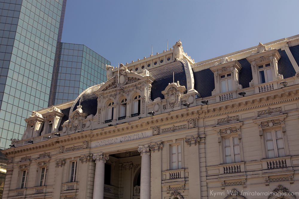 South America, Chile, Santiago. Central Post Office Building on Plaza de Armas in Santiago.