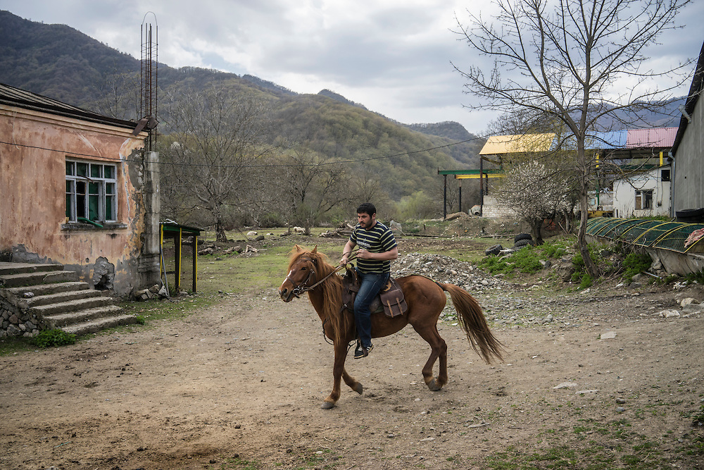 VANK, NAGORNO-KARABAKH - APRIL 17: A man rides a Karabakh horse on April 18, 2015 in Vank, Nagorno-Karabakh. Since signing a ceasefire in a war with Azerbaijan in 1994, Nagorno-Karabakh, officially part of Azerbaijan, has functioned as a self-declared independent republic and de facto part of Armenia, with hostilities along the line of contact between Nagorno-Karabakh and Azerbaijan occasionally flaring up and causing casualties. (Photo by Brendan Hoffman/Getty Images) *** Local Caption ***