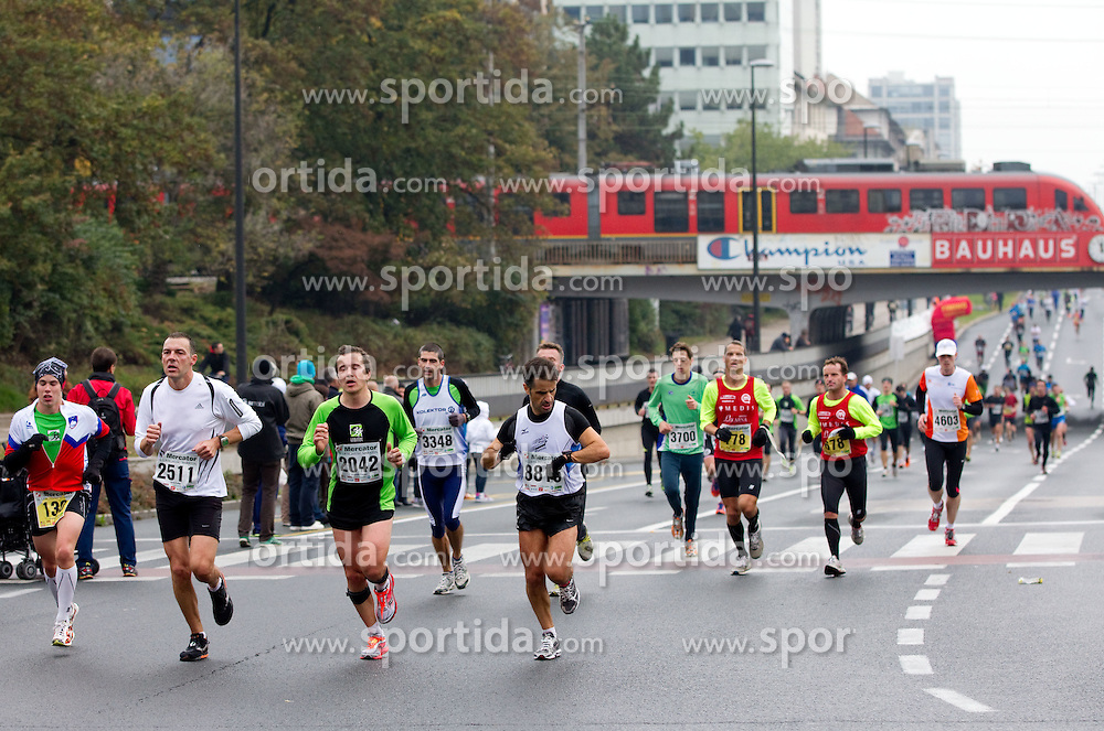 Runners during 21km and 42km marathon of 16th International Ljubljana Marathon 2011 on October 23, 2011, in Trg republike, Ljubljana, Slovenia.  (Photo by Vid Ponikvar / Sportida)