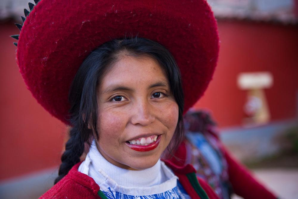 South America; Peru;Cusco,Museo de los pueblos de Paucartambo, portrait of a young woman
