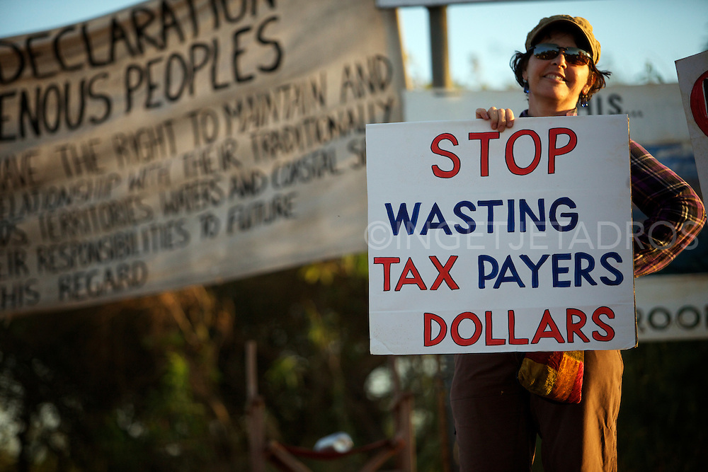 Woman protesting against Woodside Petroleum's proposed $30 billion gas hub at James Price Point in Broome, Western Australia. 15 May 2012
