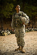 U.S. Army Private Aya Hussain stands on the bayonet assault course at Fort Jackson, S.C., on October 23, 2008.