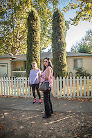 """Maria Hernandez and her daughter, Aly, in front of their home in Calistoga  """"I want to see more affordable housing in Calistoga...especially for seniors like my mom.""""  -Aly Hdrnandez"""