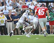Central Arkansas' Radarius Winston (20) intercepts a pass at Vaught-Hemingway Stadium in Oxford, Miss. on Saturday, September 1, 2012.