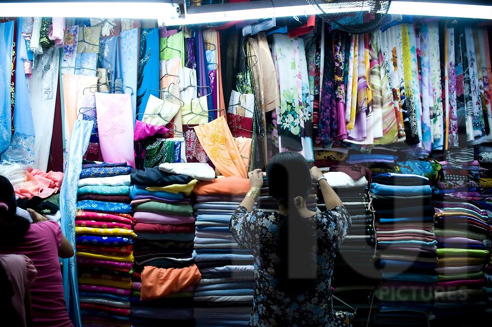 Fabric retail shop in Cholon market, Ho Chi Minh city, Vietnam, Southeast Asia